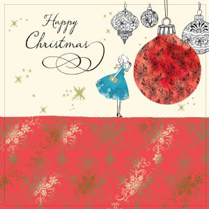 Christmas Baubel with Gold Foiling, Contemporary Design and Red Envelope KIS3